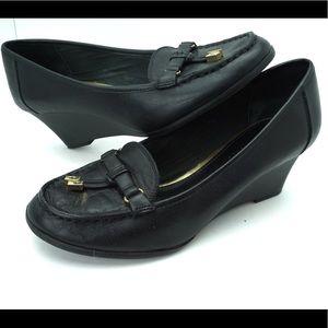Ralph Lauren black loafer wedges size 8
